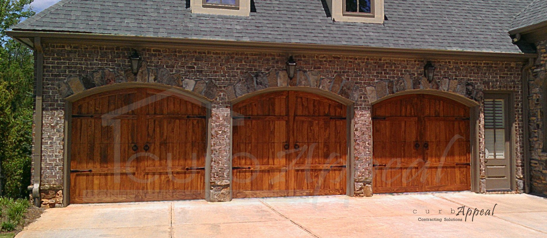 Reface garage door refaced carriage style garage door for Carriage style garage doors kit