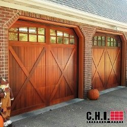 CHI mahogany overlay carriage door.