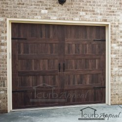 Steel Carriage Door With Accents Mahogany Woodtone